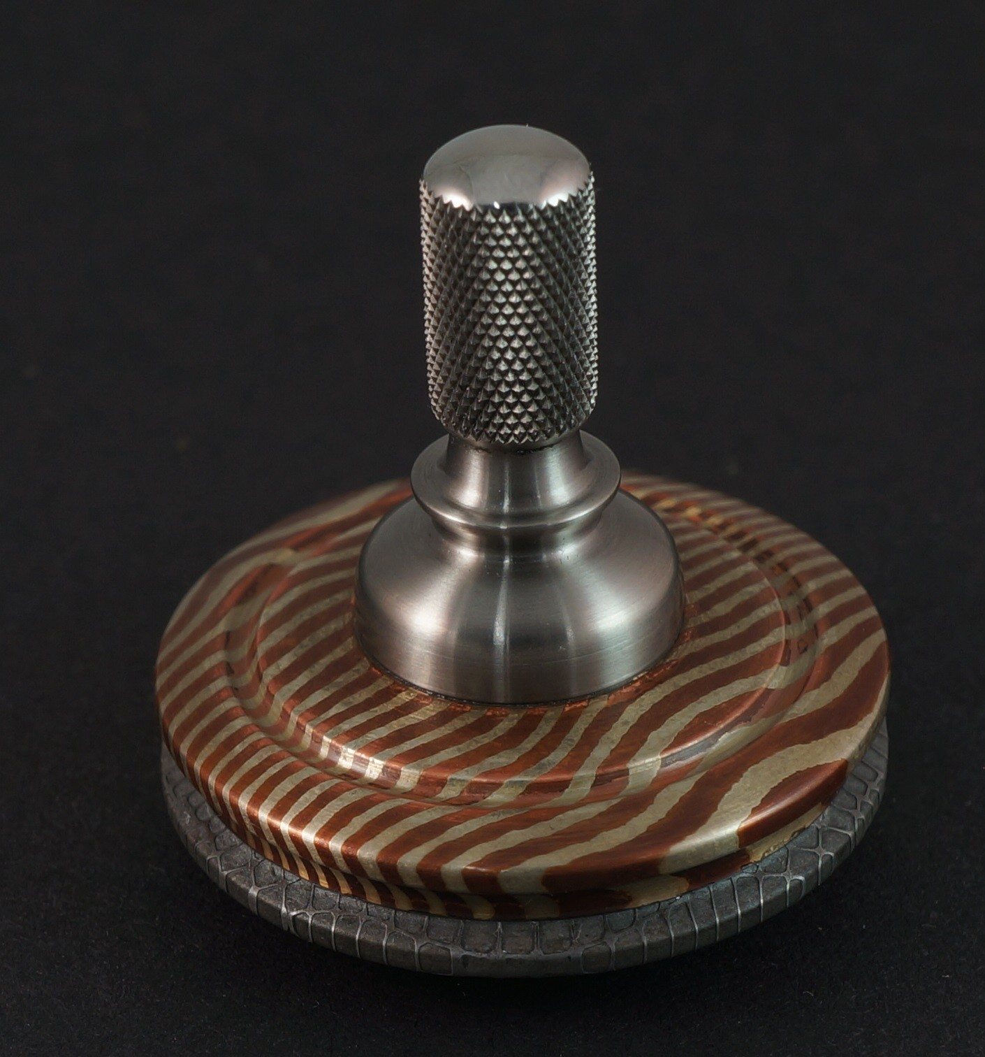"Picture of 1.24"" 2 alloy mokume and Vegas Forge Spirograph over Ti"